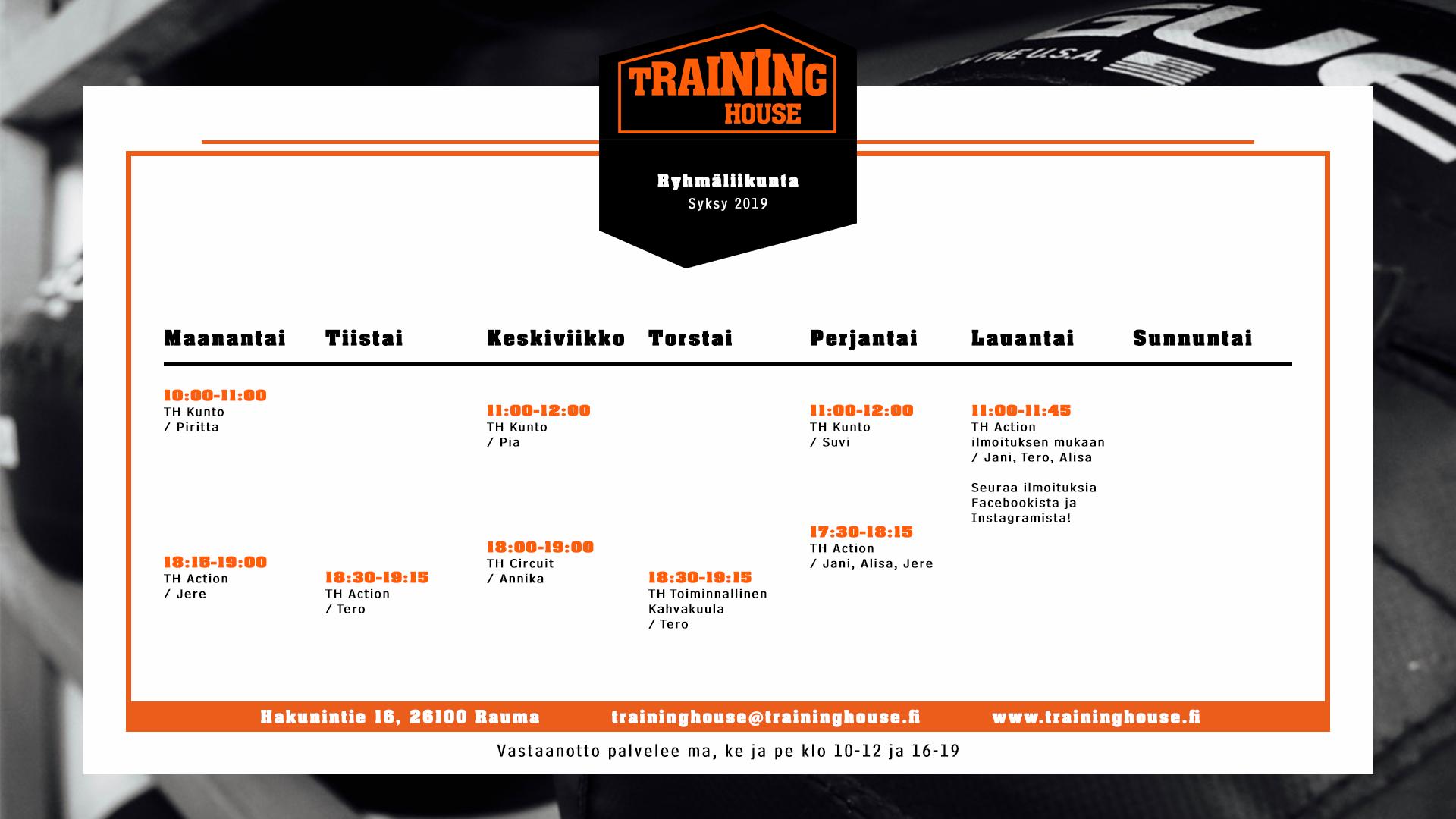 Training Housen ryhmäliikunnan lukujärjestys