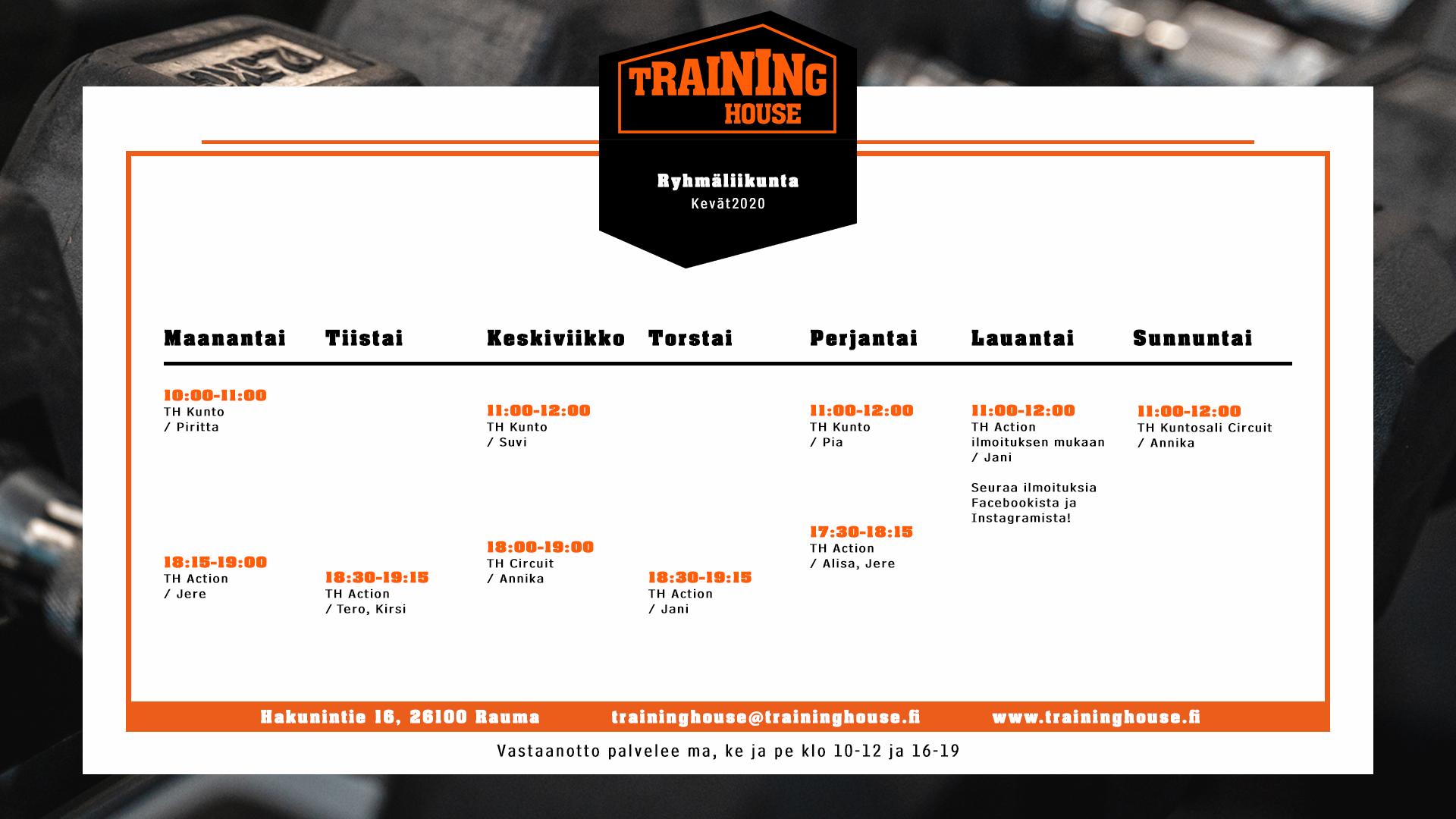 Training Housen, raumalaisen kuntosalin, ryhmäliikuntatuntien lukujärjestys keväälle 2020